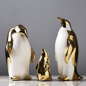 Golden Penguin Ceramics Crafts Desktop Decoration