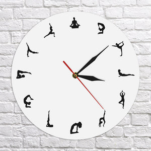 Yoga Poses Positions Wall Clock Yoga Wall Decor Gift