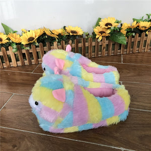 Cute Colorful Alpaca Cotton Fur Home Non Slip Slippers