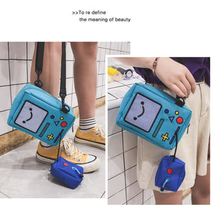 Cartoon Robot Game Controller Canvas School Messenger Bag Backpack
