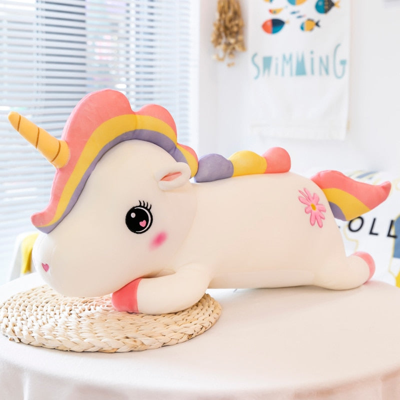 Super Cute Fancy Rainbow Pony with Horn Unicorn Plush Stuffed Sofa Plush Pillow Doll Gift