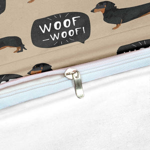 Cartoon Dachshund Sausage dog Duvet Cover Bedding Set