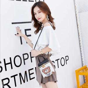 Cute Bear Leather Mini Handbag Shoulder Bag