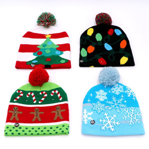 LED Light Cotton Christmas Knit Beanie Hats