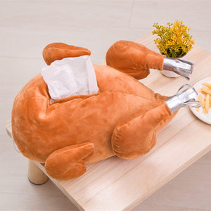 Funny Turkey Roast Chicken Soft Plush Tissue Box Pillow Blanket Hand Warmer