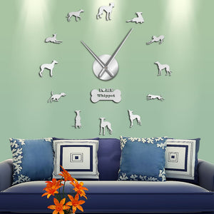 Whippet Snapdog Large Frameless DIY Wall Clock