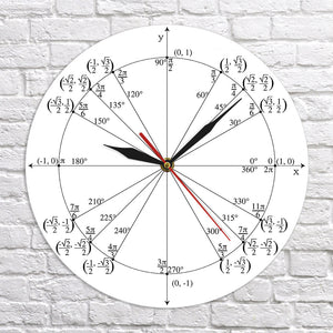 Trigonometry Unit Circle Math Angles Wall Clock