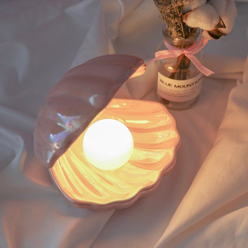 Beautiful Mermaid Shell with Pearl Ceramic Night Light Lamp for Bedside