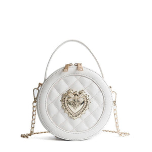 Queen Perl Bee Mini Circular Round Plaid Leather Shoulder Bag