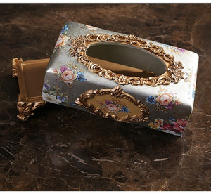 Luxury Vintage Flower Style Elegant Resin Tissue Box Holder