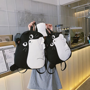 Black and White Cat Shape Canvas Backpack Shool Bag