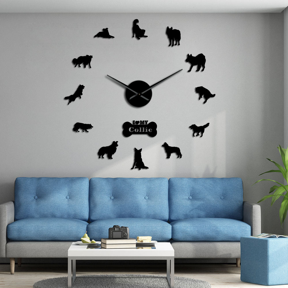 Border Collie Sheepdog Large Frameless DIY Wall Clock