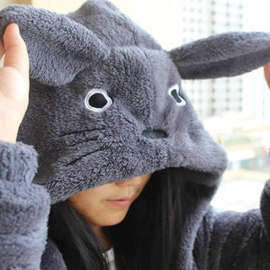 Anime Cosplay My Neighbor Totoro Fleece Plush Gray Hoodie Sweatshirts With Ears