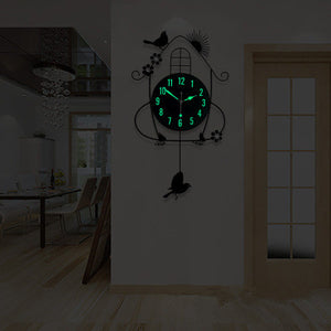 Iron Craft Bird House Swing Hanging Bird 12 Inch Pendulum Wall Clock