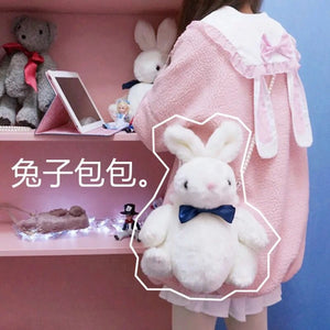 Bunny Rabbit Silk Bowknot Girl Soft Plush Bag