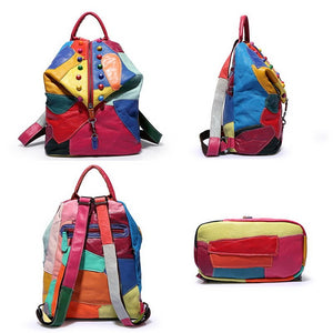 Colorful Patchwork Rivet Women Leather Backpack School Bag