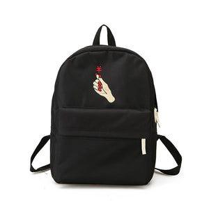 Rose Mini Heart Embroidery Canvas Unisex School Bag Backpack