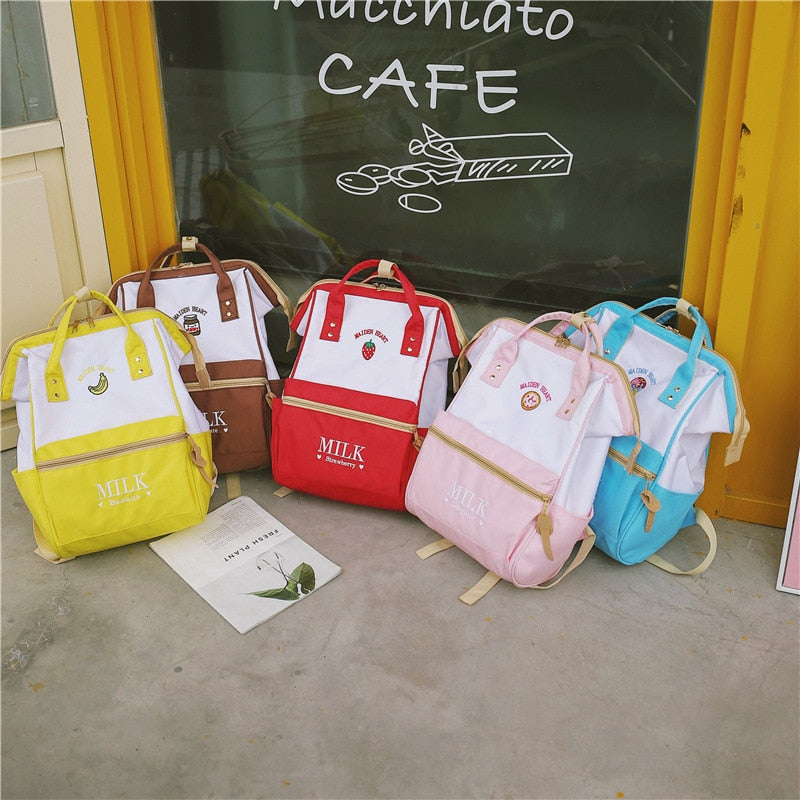 Cute Fruity Milk Embroidered Preppy Style School Bags Backpack for Girls