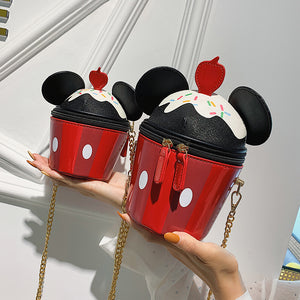 Cute Micky Ear Cup Cake Design Leather Shoulder Bag Handbag