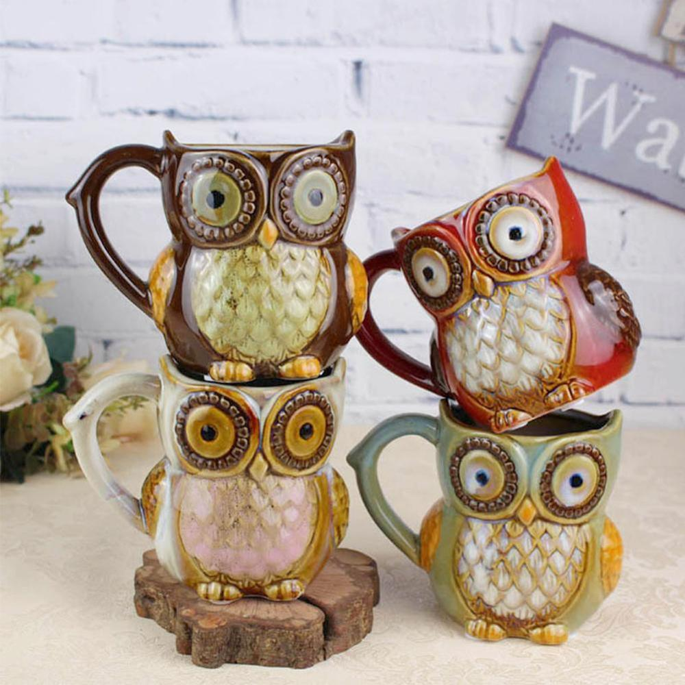 Vintage Xmas Owl Mugs Ceramic  Coffee Mug Milk Tea Cup