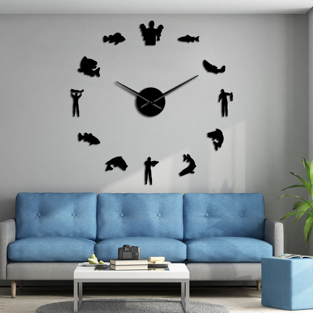 Bass Fishing Large Frameless DIY Wall Clock FIsherman Gifts