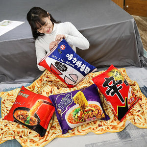Instant Beef Fried Noodles Stuffed Plush Pillow with Blanket