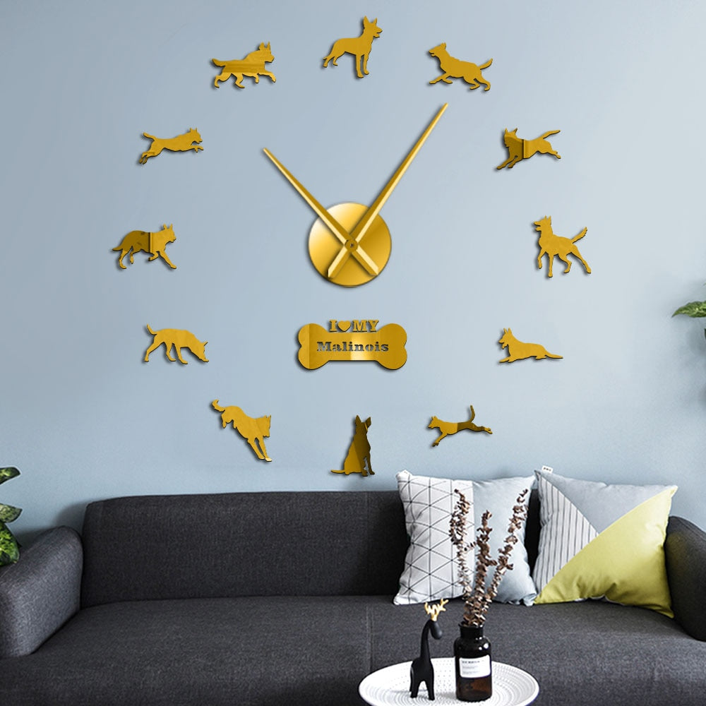 Mechelse Shepherd Malinois Large Frameless DIY Wall Clock