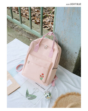 Cute Poppy Flower Canvas Backpack School Bags For Teenage Girls