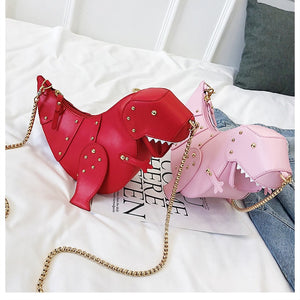 3D Angry T-Rex Dinosaur Rivets Leather Purse Shoulder Bag