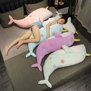 Lovely Giant Narwhal Whale Soft Plush Stuffed Toy Doll