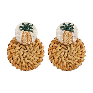 Embroidery Pineapple Boho Wooden Straw Earrings