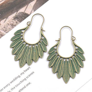Gypsy Bronze Green Leaf Boho Drop Earrings