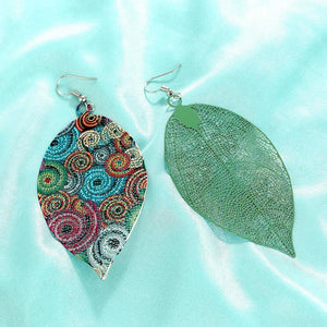Vintage Boho Hollowed Out Leaf Drop Earrings