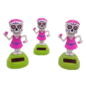Sugar Skull Skeleton Solar Powered Dancing Toy Car Decoration