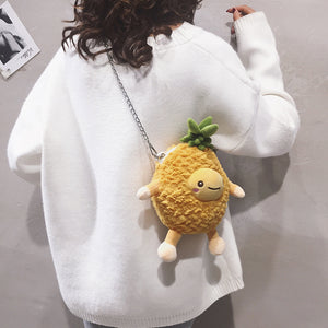 Cute Pineapple Faux Fur Purse Bag