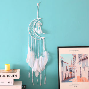 White Moon Dreamcatcher Net With Feathers