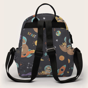 Black Space Sloth Mini School Backpack for Girls