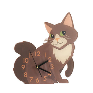 Lovely Brown Cat Arcylic Wall Clock