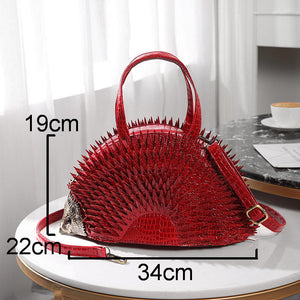 Simulation Spike Hedgehog Leather Handbag Shoulder Bag