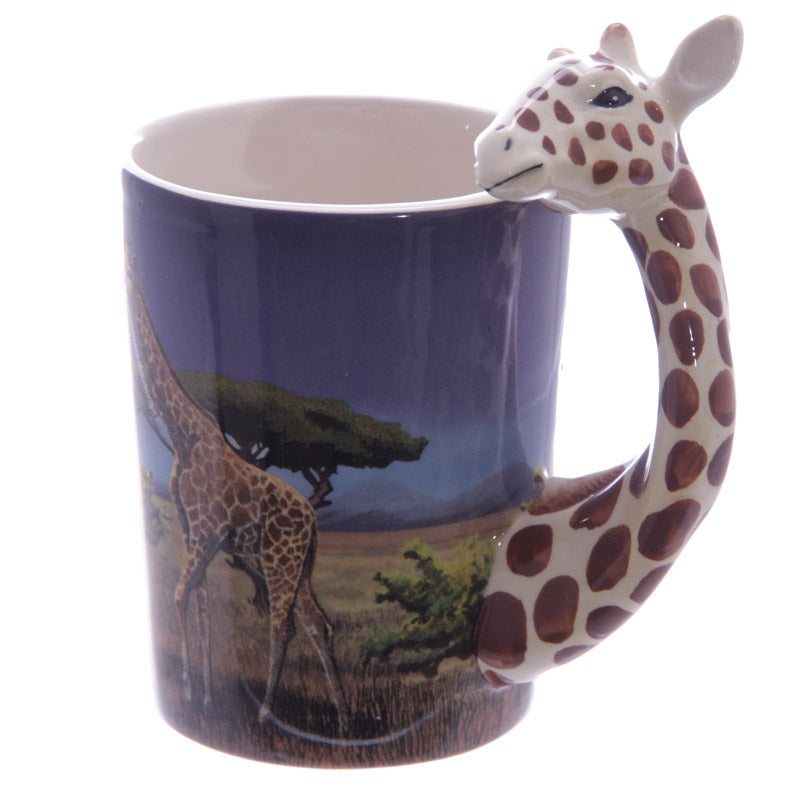 3D Safari Animal Grip Coffee Mug Cup With Bamboo Decal