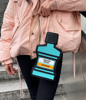 Funny Personality Mouthwash Style Mini Purse Shoulder Bag