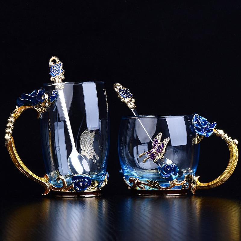 Blue Rose Flower Enamel Crystal Glass Mug with Handgrip