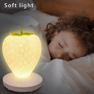Cute Strawberry Silicone LED Dimmable Night Light Bedside Lamp