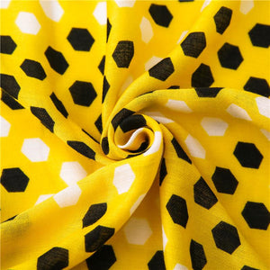 Funny Honeycomb Pattern Yellow Tassels Warm Scarves Shawl Stole