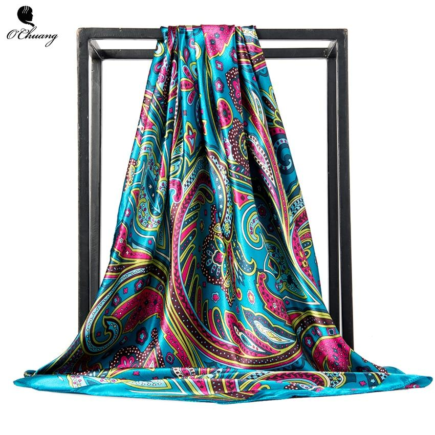 Luxury Foulard Satin Scarfs Large Size Square 90 cm Scarves