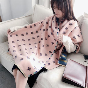 Luxury Scarf Beans Print Cashmere Scarves Pashmina Thick Shawls