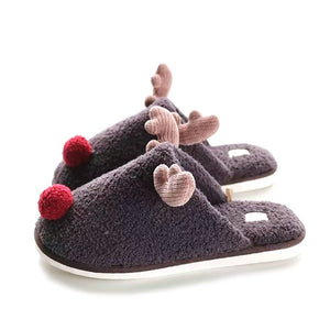 Cute Red Nose Reindeer Christmas Soft Home Slipper Shoes