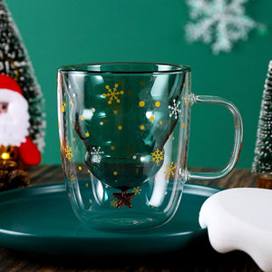 Cute Christmas Tree Snowflake Stars Double Wall Glass Coffee Cup with Silocone Lid Xmas Gift
