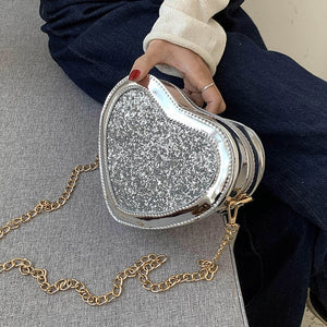 Sequins Patent Leather Heart Design Purses Handbag