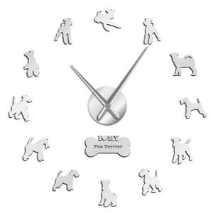 Fox Terrier Large Frameless DIY Wall Clock Dog Lover Gifts